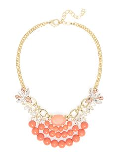 Primped and proper bib - Coral Beautiful Costumes, Fashion Necklace, Costume Jewelry, Coral, Pearls, Crystals, Collection, Style, Swag