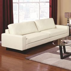 Coaster Ava Contemporary Leather Sofa with Platform Legs - if only it came in other colors!