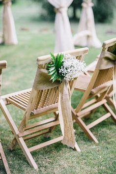 Burlap chair sashes from MadeinBurlap via etsy - perfect for rustic wedding décor. #rusticwedding #weddingchairs #chairdecor