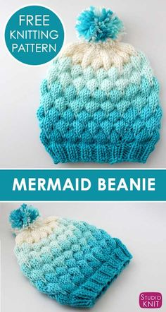 Bubble Stitch Beanie Hat Knitting Pattern by Studio Knit. - Knit Hat Patterns - Bubble Stitch Beanie Hat Knitting Pattern by Studio Knit. Loving my Mermaid Beanie! Super creative and fun to knit. Learn How to Knit a Bubble Beanie Hat with Studio Knit. Knit Or Crochet, Free Crochet, Crochet Hats, Knitted Baby Hats, Bobble Crochet, Knitted Beanies, Crochet Beanie Hat, Bobble Stitch, Baby Hats Knitting