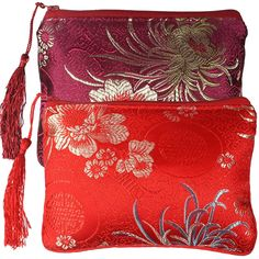 kilofly Chinese Silk Brocade Padded Tassel Zipper Jewelry Pouch Bag, Set of 2 *** You can get more details by clicking on the image.
