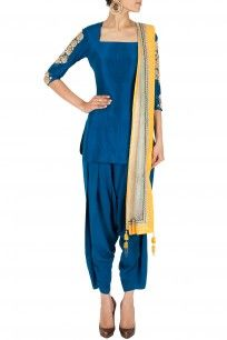 Blue embellished kurta with salwar