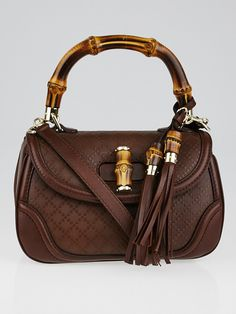 49c1a6711651 Gucci Brown Diamante Textured Leather New Bamboo Top Handle Bag