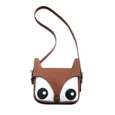 La Lisette - Genuine leather #Fox bag with cute eyes and a snap button nose.  Gold colour metal details.    Size: 19 W x 19 H cm  Shoulder strap length: 120 cm    Colour: Brown/White    €74 EUR