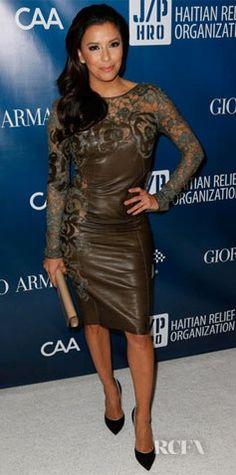 Eva Longoria's Emilio Pucci Lace And Leather Dress