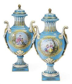 A PAIR OF SEVRES STYLE TURQUOISE-GROUND 'JEWELED' VASES AND