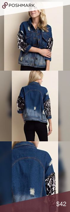 "The ""It"" destroyed sequin accent jean jacket!! Does it get any cuter than this? Adorable destroyed 3qtr sleeve jean jacket! We love ❤️ this one! Jackets & Coats Jean Jackets"