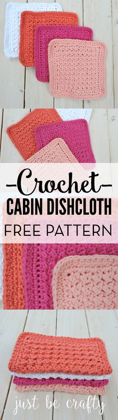 Easy crochet dishcloth pattern; Free pattern by Just Be Crafty