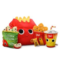 Delicious, nutritious and full of yummy pleasure. This Yummy World: Camille the Yummy Meal XL Plush, from Kidrobot, comes with a complete meal of plushy happiness. Food Pillows, Cute Pillows, Candy Pillows, Kawaii Plush, Cute Plush, Food Plushies, Yummy World, Cute Stuffed Animals, Cute Toys