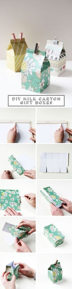 Diy Mini Milk Carton Gift Boxes Decoración de regalos.