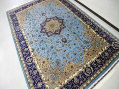 春のシルク絨毯最高級カシャーンシルク6平米555994、ブルー絨毯トップクラスのペルシャシルクじゅうたん