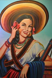 Cowgirl pictures from the to the present Mexican Artwork, Mexican Paintings, Mexican Folk Art, Mexican Style, Cowgirl Tattoos, Mexican Art Tattoos, Latino Art, Jesus Helguera, Mexican Revolution