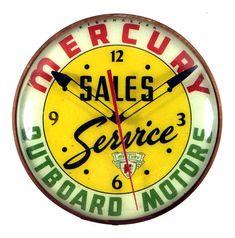 Mercury Outboard Motors Clock Vintage Clocks, Antique Clocks, Vintage Signs, Outboard Boat Motors, Outdoor Clock, Fishing Photos, Mercury Outboard, Vintage Boats, Vintage Cabin