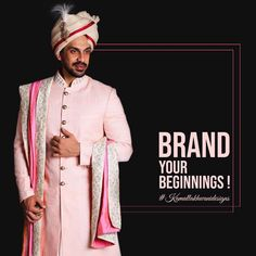 Brand your beginnings! Wedding Men, Wedding Attire, Wedding Styles, Wedding Dresses, Sherwani Groom, Indian Groom, Wedding Sutra, Brand You, Mens Suits