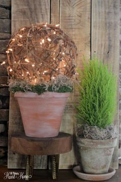 Garden Theme Spring Mantle – All Things Heart and Home Spring Plants, Spring Garden, Outside Fall Decorations, Front Porch Planters, Outdoor Planters, Garden Theme, Topiary, Porch Decorating, Garden Pots