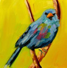 ARTOUTWEST Blue Bird Art by Diane Whitehead, painting by artist Diane Whitehead
