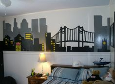 Batman Room...hand painted. Used grey for back building...black for front building and yellow paint for light