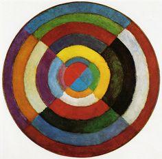 Simultaneous Discs by Robert Delaunay 1912. Kleur is het onderwerp. Geïnspireerd op Michel Eugène Chevreul kleuren leer.