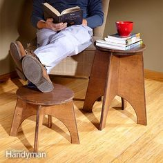 "Use a jigsaw to create this simple stool, and ""dress it up"" with a round-over router bit. Round-over bits have a way of making jigsaw cuts look smoother, straight cuts look straighter, cheap wood look classier and paint jobs look better. Round-over bits also make wood furniture more comfortable to sit on and touch. http://www.familyhandyman.com/woodworking/projects/how-to-make-a-stool-with-a-jigsaw/view-all"