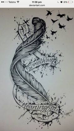 Mädchen Tattoo, Tatoo Art, Cover Tattoo, Tattoo Fonts, Tattoo Drawings, Time Tattoos, Body Art Tattoos, Cool Tattoos, Feather Tattoo Design