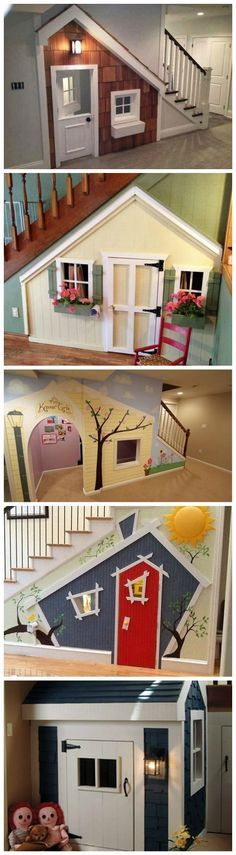 Kids Indoor Playhouse Under Stairs