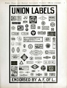 """""""This page of union emblems is from a 1900 issue of the Piano, Organ and Musical Instrument Workers' Official Journal."""""""