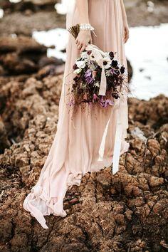 blush wedding gown - http://ruffledblog.com/french-seaside-wedding-inspiration photo Pinewood Wedding