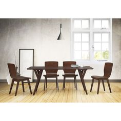 Wholesale Interiors Elsa Dark Walnut Bent Wood 5-Piece Dining Set
