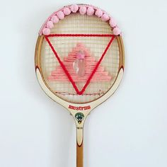 Embroidered Heart On Vintage Tennis Racket As A Wall