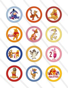 Disney Winnie the Pooh Custom Birthday Party 2 inch Cupcake Toppers Digital Printables Party Favor Circles