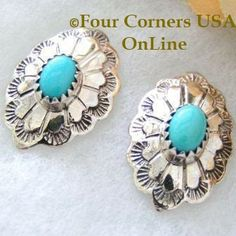 Four Corners USA Online - Turquoise Stone Sterling Silver Post Earrings Navajo Larend Robertson Special Buy Final Sale, $44.00 (http://stores.fourcornersusaonline.com/turquoise-stone-sterling-silver-post-earrings-navajo-larend-robertson-special-buy-final-sale/)