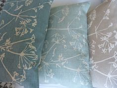 hand printed muted duck egg cow parsley cushion Cow Parsley, Lounge Ideas, Soft Furnishings, Egg, Interior Decorating, Cushions, Bedroom, Printed, Wallpaper