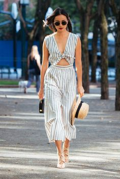 $150 Tie-Front Culotte Jumpsuit In Ikat Stripe Slouchy Fit Through Hip And Thigh With A Relaxed Slim Leg Teamed With High Heels And A Summer Straw Hat