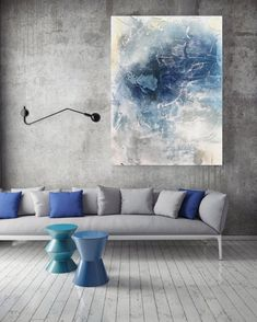 The Wave, Blue Grey Extra Large Abstract Canvas Art Print, 36x40 ($500) by Irena Orlov Love this for the living room - left of fireplace