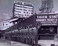 Ushers salute the new season in April 1961 at Tiger Stadium — which had been Briggs Stadium until it was renamed on Jan. Detroit Sports, Detroit Tigers Baseball, Detroit Michigan, Baseball Park, Baseball Field, Baseball Stuff, Tiger Stadium, Sports Stadium, Stadium Tour