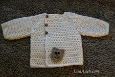 Free Crochet Pattern Baby Sweater-cardigan with buttons - Cute.