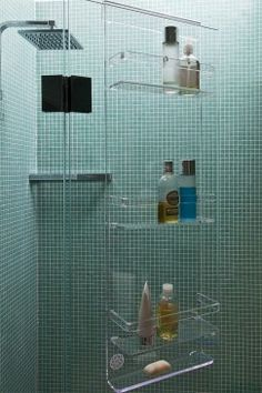 Acrylic storage hanging over a glass shower screen!