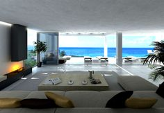 #modern #livingroom opening to #pooldeck + #oceanview | 301 The Point | Original Vision
