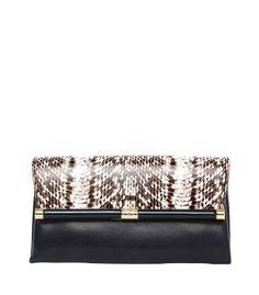 Diane Von Furstenberg Envelope Snake Clutch - Fold Over Clutch - ShopBAZAAR