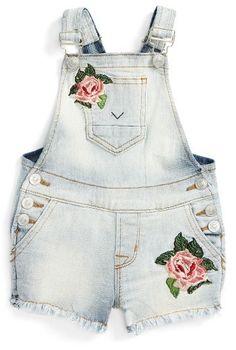 Hudson Kids Embroidered Short Overalls (Baby Girls) available at Baby Overalls, Short Overalls, Swag Outfits, Girl Outfits, Baby Girl Romper, Baby Girls, Laid Back Style, My Style, Embroidered Shorts