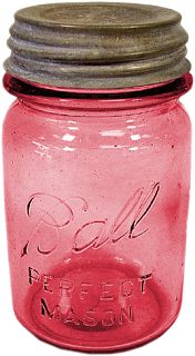Did you know that Mason jars were patented in 1858 by Philadelphia tinsmith John Mason? Early colored glass jars were considered better for food preservation. Does anyone collect the antique Mason (also known as Ball) jars? Antique Bottles, Vintage Bottles, Bottles And Jars, Vintage Glassware, Glass Bottles, Vintage Kitchenware, Vintage Dishes, Pink Mason Jars, Vintage Mason Jars
