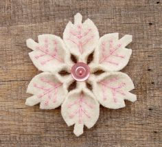 Handmade Felt Wool felt snowflake pin accented with delicate pink embroidery and a matching pearly pink button. Felt Diy, Handmade Felt, Felt Crafts, Fabric Crafts, Sewing Crafts, Sewing Projects, 3d Christmas, All Things Christmas, Christmas Ornaments