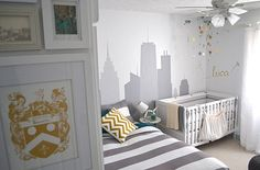 skyline and airplane :)  plus tips for decorating a small nursery