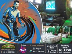 Cheer for #MenInBlue... Enjoy the Live screening of India vs West Indies at Sky Garden of #Jungle #Jamboree #Gurgaon with Special #World #Cup #Offers  Offer 1 - Unlimited 7 Course Buffet + Beer @ 1250 (All Inclusive) / Offer 2 - Unlimited 7 Course Buffet + IMFL @ 1450 (All Inclusive)  Call 97172 88300, 97175 88300 for #Reservations #T20worldcup2016 #T20worldcup #T20 #T20wc2016 #WorldCup #Cricket #India #WestIndies #IndiavsWestIndies #IndvsWI