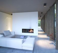 Jazzy Minimalist Home Designed in Open Impression: Minimalist Style Contemporary Minimum House Living Room Interior With Elegant White Sofa . Minimalist House Design, Minimalist Architecture, Minimalist Interior, Minimalist Home, Interior Architecture, Minimalist Furniture, Houses In Germany, Modern Fireplace, My Living Room