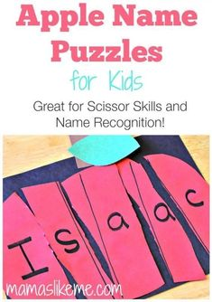 Apple Name Puzzles for Kids - great for learning to use scissors and name recognition (september activities for preschool) Preschool Apple Theme, Preschool Names, Apple Activities, Fall Preschool, Preschool Lessons, Preschool Classroom, Preschool Learning, In Kindergarten, Preschool Activities
