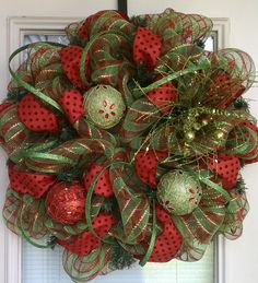 Green and Red Christmas Wreath. $95.00, via Etsy.