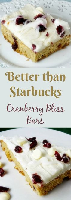 Festive Cranberry Bliss Bars just like the ones at Starbucks! A delicious vanilla cookie bar frosted and topped with cranberries and white chocolate. A perfect holiday cookie tray addition!
