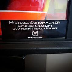 armoristeeleWe're bringing out the big boy toys for this Sunday's event at the Hyatt. Authentic Michael Schumacher autograph on a replica display 2001 Ferrari helmet. Display case included.  #sports #sportsmemorabilia #memorabilia #bigboys #authentic #autograph #classic #art #sport #lifestyle #decoration #rare #men #menstyle #menfashion #dapper #mancave #interior #lifestyle #events #luxury #luxurylife #framing #sothebys #F1 #schumacher #racing #helmet #ferrari