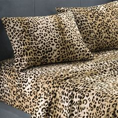 College dorm bedding sheets in animal print patterns. Cheetah or leopard fur look.